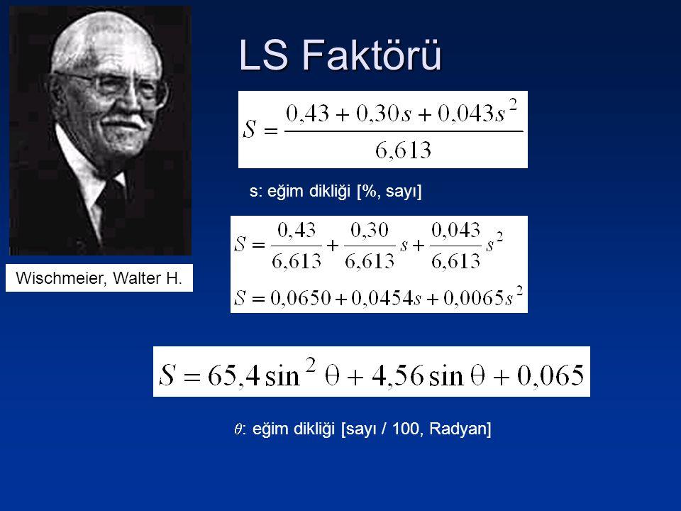 LS Faktörü s: eğim dikliği [%, sayı] Wischmeier, Walter H.